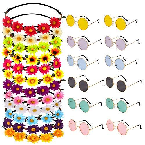 Auidy_6TXD 24-teiliges Hippie-Stirnband-Set aus Glas, 12 Stück, mehrfarbig, Sonnenblumen-Haarbänder, 12 Stück, runde Hippie-Sonnenbrille für - Sonnenblume Kostüm Stirnband