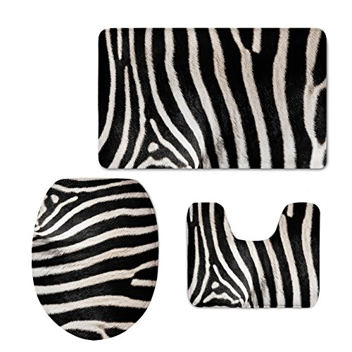 HUGSIDEA Fashion 3Stück Rutschfest Bad Teppich Set Contour Teppiche Deckel WC-Deckelbezug Badteppich, Flanell, Zebra, S -