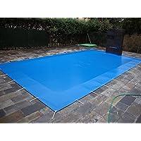 Cubierta de piscina invierno de 5,70x4,70 metros. (En una piscina de 5x4 metros la lona cubriría 35cm sobre todo el contorno de la piedra de coronación de la piscina). Color Azul(exterior)/Negro(interior).