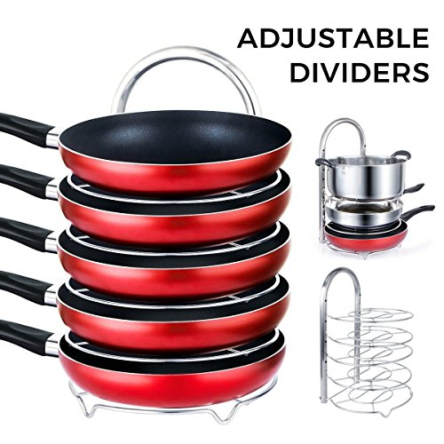 Lifewit Height Adjustable Pan Pot Organizer Rack, 5-Tier Kitchenware Cookware Holder Hanger Shelves Kitchen Cabinet Worktop Countertop Storage Solutions, Stainless Steel