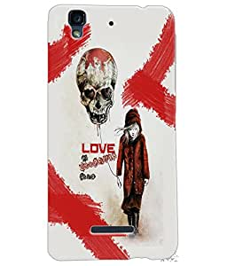 Fuson Love Skull Back Case Cover for MICROMAX YU YUREKA - D3739