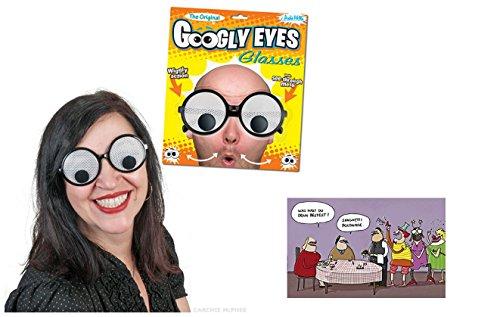 NV Karnevalskostüm Spaßbrille Googly Eyes Brille & Postkarte Spaghetti Polonaise - Set ()