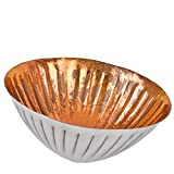 Schwimmlicht Schale Deko Metall 5x10x10cm Teelichthalter Windlicht (Silber Kupfer)