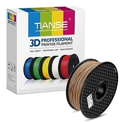 TIANSE Holz 3D Filament pla 1,75 mm für 3D Drucker 1 kg, Dimensionsgenauigkeit +/- 0,03 mm MEHRWEG