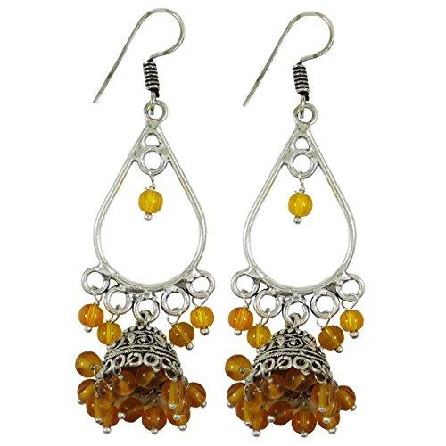 Argenté Orange, Boucle D'Oreille Couleur Dangle Fixé Indien Cadeau De Bijoux Ethenic Pour Elle Orange-9