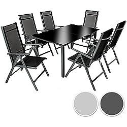 TecTake Aluminio conjunto muebles para jardin 6+1 silla adjustable mesa cristal terraza gris oscuro