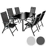 TecTake Aluminium Sitzgarnitur 6+1 Sitzgruppe Gartenmöbel Tisch & Stuhl Set - diverse Farben - (Dunkelgrau | Nr. 402166)