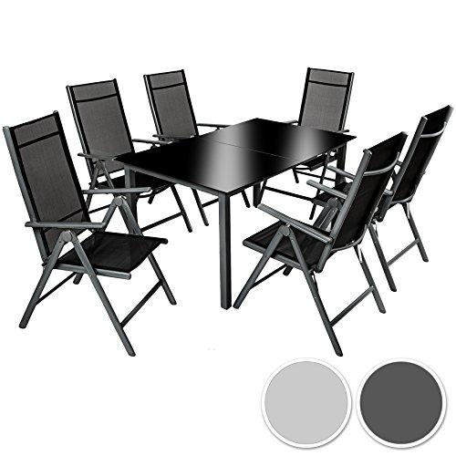 TecTake Alluminio set mobili da giardino 6+1 tavolo sedie pieghevole arredo esterno - disponibile in diversi colori - (Grigio scuro | No. 402166)