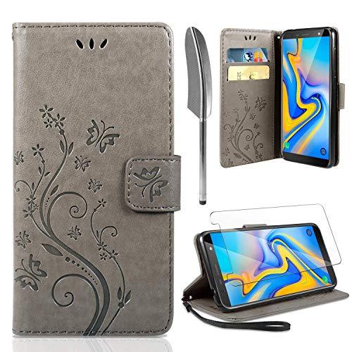 AROYI Lederhülle Samsung Galaxy J6 Plus Flip Hülle + panzerglas,Galaxy J6 Plus Wallet Case Handyhülle PU Leder Tasche Case Skin Ständer Schutzhülle für Samsung Galaxy J6 Plus grau - Wallet Skin Case