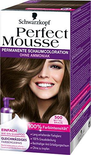 Perfect Mousse permanente Schaumcoloration, 500 Mittelbraun, 3er Pack (3 x 1 Stück)