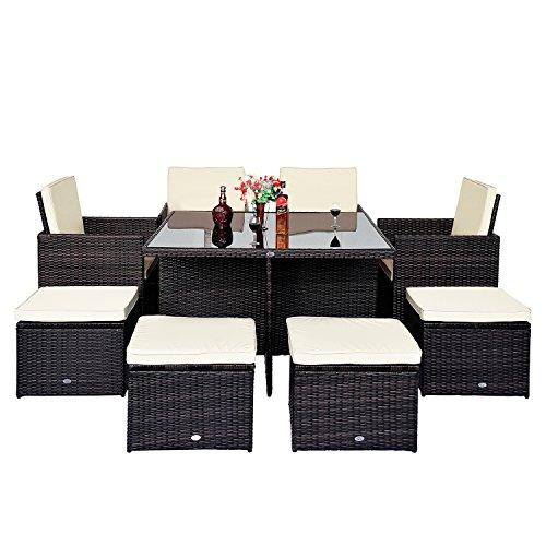 Outsunny Polyrattan Garten Möbel Aluminium im Patio Set Cube Weave Weidengeflecht Esstisch–Braun (9-teilig) Cube Tisch Und Stuhl Im Set