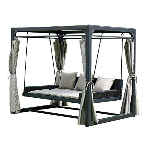 Home Deluxe - Pavillon Provence - Schwebendes Rattanbett inkl. schließbare Vorhänge
