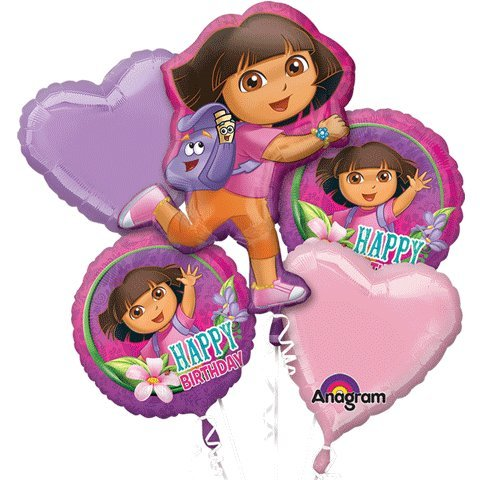 1 X Dora The Explorer Happy Birthday Mylar Foil Balloon Bouquet Set by Anagram (Birthday Dora Explorer The)
