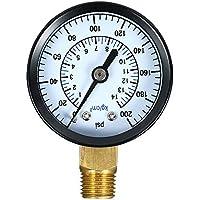 KKmoon 0~200psi 0-14kg / cm2 Indicador de presión mecánico de escala dual Filtro de piscina Medidor de presión de gas de aire de agua de acuario Medidor de montaje inferior NPT de 1/4 pulg.
