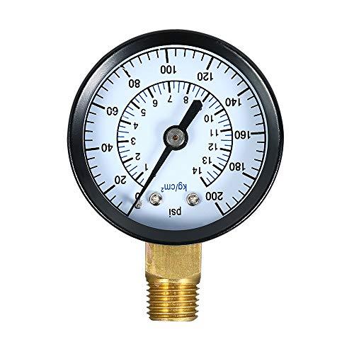 Walmeck Mechanische Manometer 0~200 psi 0-14 kg / cm2 Gas Manometer Dual Scale Pool Filter Aquarium Wasser Luftdruckprüfer Meter 1/4 zoll NPT Bottom Mount
