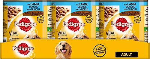 Pedigree Adult Hundefutter Lamm, Gemüse und Nudeln - Saftiges Geschnetzeltes, 12 Dosen (12 x 800 g)