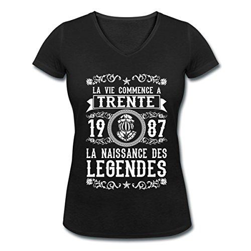 Anniversaire-Trente-Ans-Naissance-1987-T-shirt-col-V-Femme-de-Spreadshirt