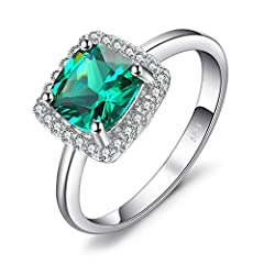 Idea Regalo - JewelryPalace Gioiello Cuscino 2.3ct Quadrata Artificiale Nano Russo Verde Smeraldo Halo Anello di Fidanzamento Argento Sterling 925