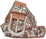 styleBREAKER Nieten Gürtel im Vintage Style mit echtem Leder, kürzbar 03010008, Farbe:Rehbraun;Größe:80cm