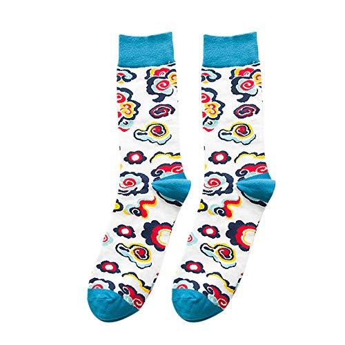 Fjiujin,10 Paar Paar viele Muster extravagante Baumwolle elastische Waden socken(Color:Bunte Wolken,Size:Nackte Socken)