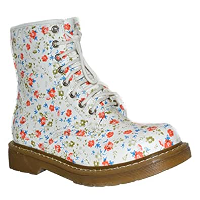 Ladies Women's Ankle Retro Combat New Funky Vintage Goth Boots Colour White Red Floral Size Uk 5