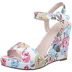 Damen Schuhe, 1417-KL, SANDALETTEN, KEIL WEDGES PUMPS, Textil , Weiß Multi, Gr 40