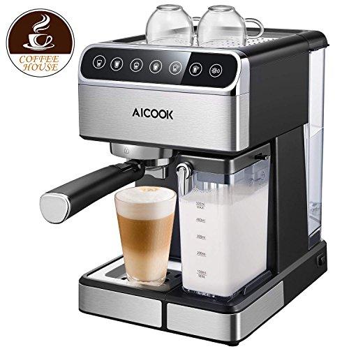 Aicook Automatische Kaffeemaschine, 15 Bar Druck Espressomaschine mit One-Touch-Digital-Bildschirm und Milchaufschäumer für Cappuccino, Latte, 1.8L Tank und Milchbehälter, Edelstahl