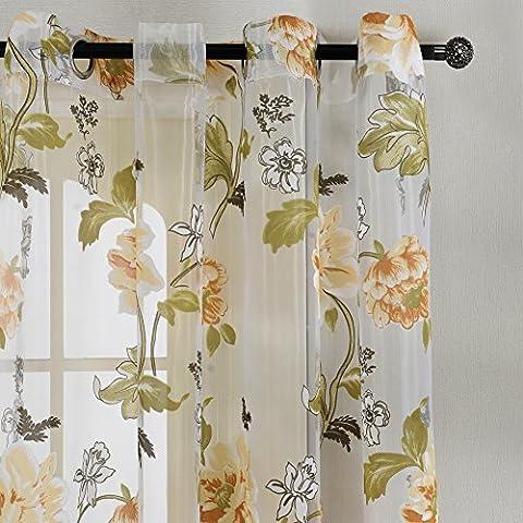 Top finel Flores Ventana Sheer - Cortina de paneles, arandelas, solo panel, poliéster y mezcla de poliéster, Yellow Flower, 54