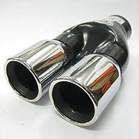 Boloromo 421 Embellecedor de tubo de escape doble universal, de acero inoxidable, diámetro 43 - 62 mm, cromado