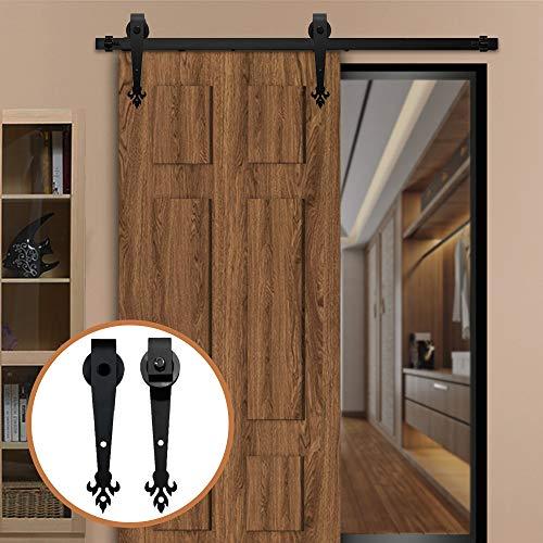 LWZH 8FT (244cm) Schiebe Holz Barn Door Hardware Antique Track Kit Closet Gleitschiene für Einzelne Holztür (Schwarze Blätter Förmige Aufhänger)