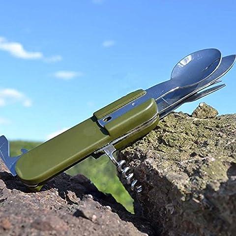Bluelover Supervivencia al aire libre acero inoxidable vajilla multifunción plegable tenedor