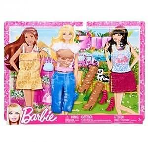 Barbie - Sweet Fashionistas - 3 Set Fashion Clothes - Clothing Y7097 by Mattel