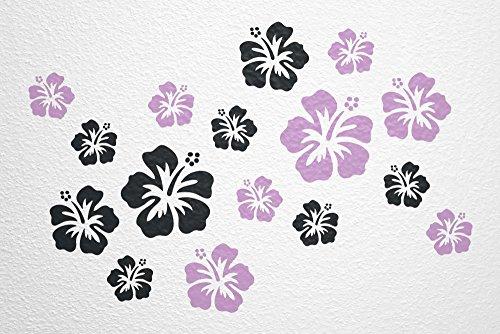 Preisvergleich Produktbild WANDfee® Wandtattoo 16 Hibiskus Blüten AC0610118 Größe Ø 7 - 15 cm, 2 x Ø 15 cm, 4 x Ø 11 cm, 10 x Ø 7 cm Farbe schwarz flieder