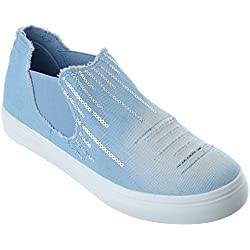 SheLikes , Damen Sneaker, - Light Blue/Sequins - Größe: 42