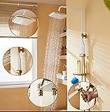 YLG Duschsystem Inkl Handbrause Shower Set, Duschsäule Mit Wasserhahn, 4 Arten Von Wassermustern Höhenverstellbar,Whiteandgold