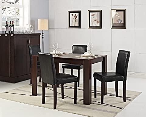 Dining Table Furniture Set: Natural Oak/Dark Walnut Table with 4