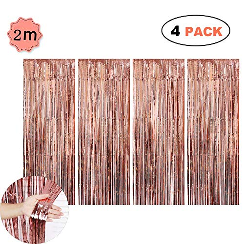 lie Vorhänge Metallic Fringe hängen Lametta Vorhänge Schimmer Party Tür Vorhang Photobooth Requisiten für Geburtstag Hochzeit Braut Baby Shower Photo Booth Kulisse (4 Pack) ()