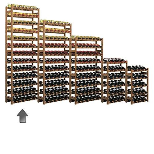 Weinregal / Flaschenregal System Simplex Modell 5, für 91 Fl., Holz, Kiefer braun gebeizt