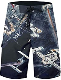 Musterbrand Star Wars Shorts de planche Homme Space Fight Death Star Space-Fight Artwork Multicolore L