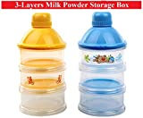 #6: 3-Layers Transparent Plastic Portable Milk Powder Storing Travel Boxes - For Newborn Babies & Infants