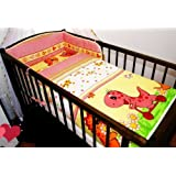 3 PCs BABY NURSERY BEDDING SET/bumper DUVET Cover/Pillowcase to fit Cot Bed (140 x 70cm, Red)