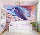 selbstklebende Fototapete - Kinderbild - Wal Phantasie Cartoon - 300x200 cm - Tapete mit Kleber – Wandtapete – Poster – Dekoration – Wandbild – Wandposter – Wand – Fotofolie – Bild – Wandbilder - Wanddeko