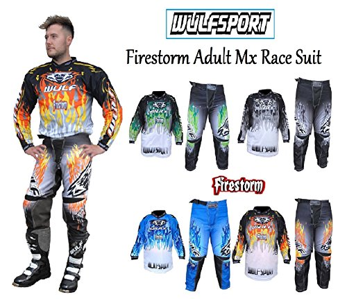 WULFSPORT FIRESTORM MOTORBIKE ADULT SUIT NEW 2018 Motocross Quad Enduro Race MTB Off Road ATV MX Pit Sport Pant Shirt Kit - Blue - Shirt&Pant L / 34