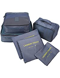Gray : (TM) Pack Of 6 Travel Packing Organizers,6 Various Sizes Packing Cubes,Gray
