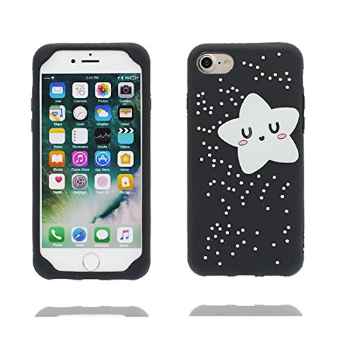 Custodia iPhone 7 Plus , iPhone 7 Plus copertura (5.5 pollici) | Gel durevole TPU morbido protettivo Case posteriore Stars Polvere anti shock | 3D Cartoon orso bear Nero