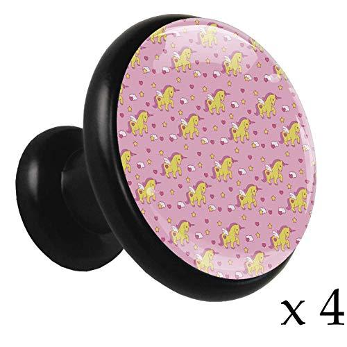 Einhorn Pink Wing Liste 4 Stück Küche schwarze Knöpfe Vintage Kristallglas Metall Kabinett Knöpfe mit schwarzer Basis Möbel Schublade Griffe und zieht für Schrank Schrank Hardware 32mm