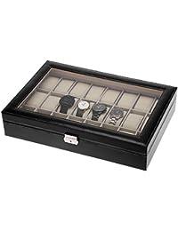 ZOGIN Estuche para Relojes, Caja con 24 Compartimentos para Relojes,joyería, Color Negro