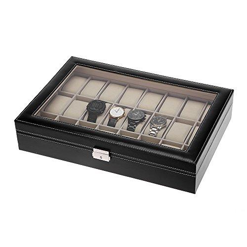 Zogin Estuche para Relojes, Caja 12/24/6 con Compartimentos para Relojes,joyería, Color Negro