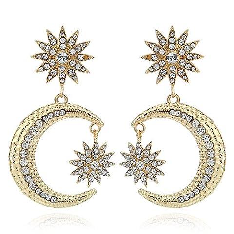 Simple Diamant étoiles Lune Boucles D'oreilles Exagération Battement De Rue Croissant Boucles D'oreilles,Gold-M