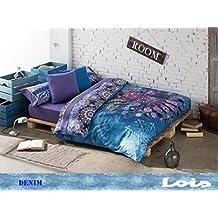 Style Lois - Funda nórdica, algodón-poliéster, 38 x 28 x 6 cm, color azul y morado